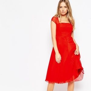 ASOS Premium Pleated Cap Sleeve Midi Dress